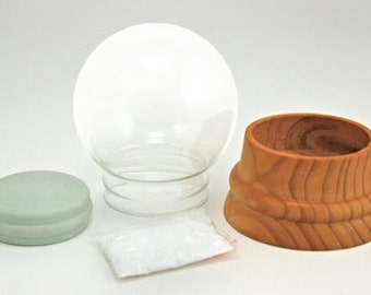 Make Your Own Large DIY Glass Snow Globe Kit with handturned solid wood base