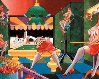 Canvas Print, Large Canvas Print, Pool Hall Ladies , Archival Giclee - Mediterranean Art -Contemporary Art - Home Decor, Modern Art
