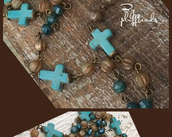 Boho rustic USA Handcrafted beaded linked chain turquoise howlite crosses crystals European glass Antique brass plated