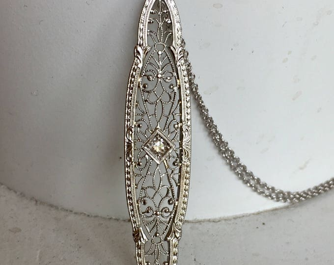Featured listing image: Striking Diamond Filigree Pendant Necklace - 14k White Gold
