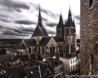 Church Photograph, Architecture Art, Landscape Photo, Castle Photograph, Stone Building, Stormy Sky Photo, Cloud Art, Cathedral Photo