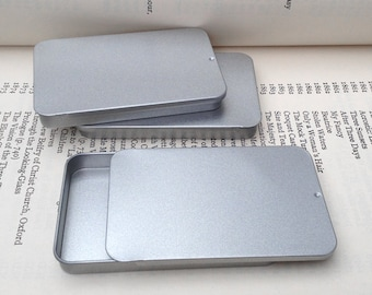 40ml Sliding Lid Tins, Rectangular Metal Tins, Silver Color, Flat Business Card Storage Box, (A Set Of 20 Tin Boxes)