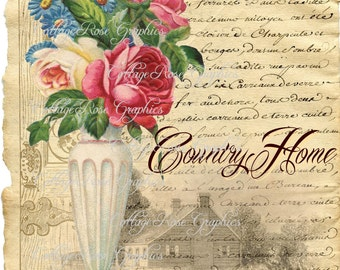 Large digital download  English Country home pink roses image BUY 3 get one FREE
