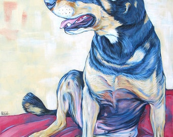 """14"""" x 18"""" Custom Pet Portrait Painting in Acrylic on Canvas of One Dog, Cat, or Other Animal Ready to hang no framing needed dog lover gift"""