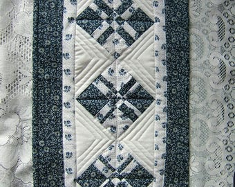 Blue and White Miniature Wall Hanging or Table Topper (Item # 249)