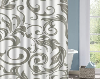 Gray and White Floral Bathroom Shower Curtain, Gray  Bath Curtain, Custom Polyester Shower Curtain, Custom Shower Curtain, Decorative