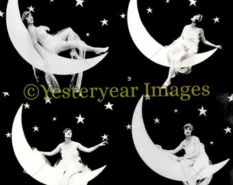 Vintage GIRL in the MOON - Printable Digital Images - Collage Sheets - Instant Download - 3 PNG Files 4x4. 2x2. 1x1