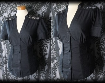 Gothic Black Fitted RECKLESS ABANDON Lace Corset Panel Blouse 12 14 Victorian