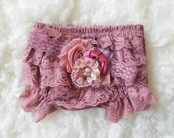 Mauve dusty pink baby bloomer set  ,  dusty rose mauve flower headband , ivory Baby headband, Vintage headband