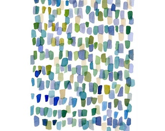 Modern minimalist Abstract watercolor painting blue green sea glass art, Sea Glass watercolor print, abstract little watercolor painting