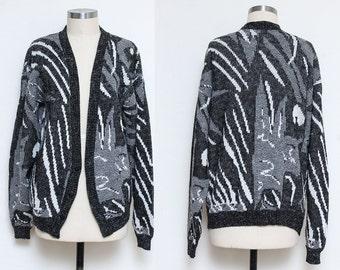 Grandpa Sweater // Gray Acrylic Sweater // 80s 90s Cosby Slouchy Hipster Scandia Geometric Abstract Print Medium