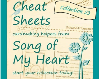 Cheat Sheets #23 Collection: Instant Digital Download cardmaking helpers for crafters and stampers, rubber stamping DIY cards & stationery