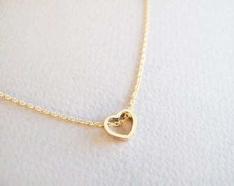 Tiny Gold Heart Necklace - Gift for her
