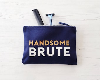 Handsome Brute Wash Bag, Father's Day Gift, gifts for men, man wash bag, gift for Dad, toiletry bag, grooming kit, gift for man, beard gift