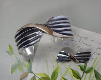 Heavy Sterling Silver Twisted Ribbed Cuff Bracelet & Matching Brooch w/ Gold Wash Accents 64 grams