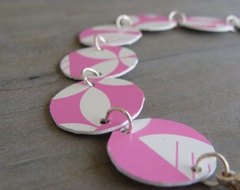 Upcycled iTunes Credit Gift Card Pink Link Bracelet - Recycled Jewelry, Music Lover, Apple iTunes, Gift Card Credit Card Bracelet
