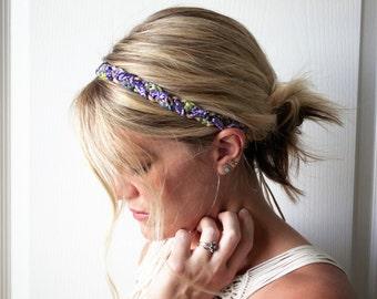 Braided Boho Headband Purple Crochet Summer Wedding Hair Accessory
