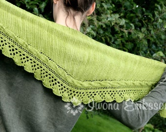 Shawl in garter stitch with a lace border, PDF Knitting Pattern, Welcome To The Jungle Shawl, Neck Warmer, Knit yourself