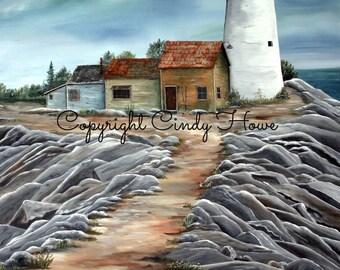 Digital art, Lighthouse, beach, beach house, lighthouses, digital download, seaside lighthouse, ocean, sea