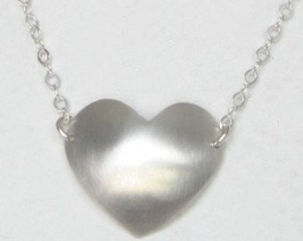 Sterling Silver heart Necklace on silver chain-Love-handmade