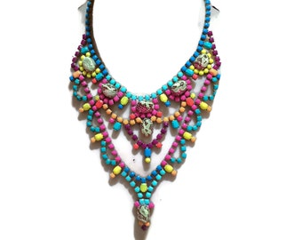 EL SCORCHO hand painted multi-color statement bib rhinestone necklace