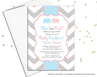 Gender reveal invitations | baby shower themes | pink or blue gender reveal party ideas | elephant baby shower | printable - WLP00795