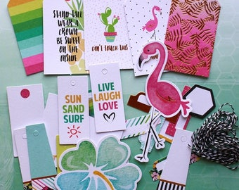 Fancy Pants Hello Sunshine Tags & Labels Cardstock Die-Cuts with Gold Foil Accents