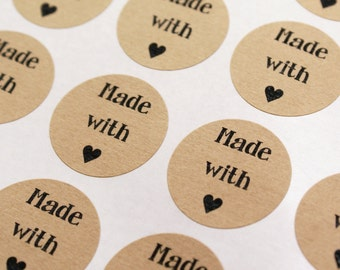 Playfully primitive font MADE WiTH LOVE mini HEART 1 inch round Kraft Circle Stickers for party favors, gifts, wedding