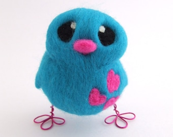 Needle Felted Turquoise Bird Build Your Own Blue Bird