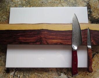 "Kingwood - Rosewood 20"" Natural Edge, Magnetic knife holder magnetic knife rack, inc mounting hardware handmade"