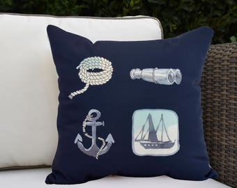 Sea Tools 16 inch Navy Decorative Geometric Throw Outdoor Pillow