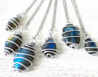 Labradorite Necklace, Wire Wrapped, Transformation, Labradorite, Blue Flash