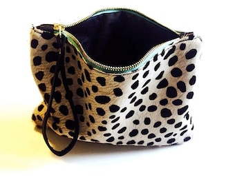 DOTTY Real leather clutch. Hair on hide clutch. Real leather clutch. Animal print clutch.