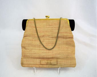 Vintage 1960s tan foldover clutch evening bag with chain handle and bow trim