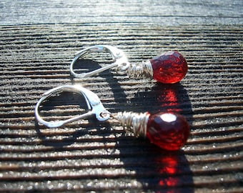 Lipstick red quartz sterling silver wire wrapped earrings