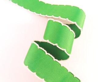 25mm(1'') Green / White Moon Stitch Grosgrain Ribbon #Picot #Moon Stitch