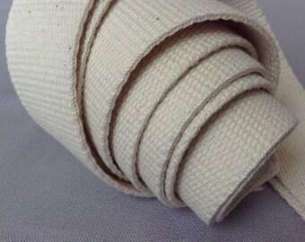 "Cotton webbing / Heavy duty / Raw greige natural / 3.2cm width, 1 1/4"" / Bag handles, bag strap for tote bag / upholstery webbing"