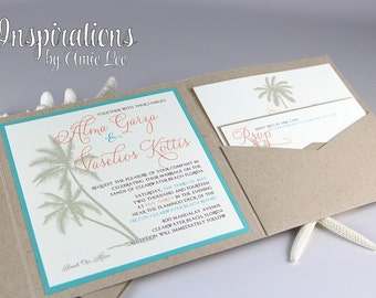 Wedding Invitations, Beach Wedding, Destination Wedding, Pocket Invitations