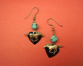 On Sale! Free Shipping*! Gift Idea, Horse Earring, Western, Horse Jewelry, Cowgirl, Equestrian, Earrings, Boho, silver, turquoise,  #80127-1