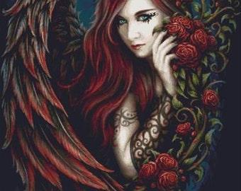 Angel Cross Stitch, CROSS STITCH KIT, SheBlackDragon Art, 'Daemon in Rosa', Fantasy Cross Stitch Kit, Angel Art, Cross Stitch Pattern