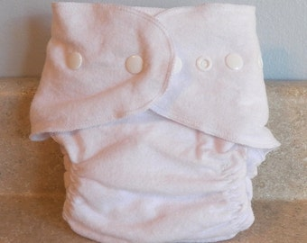Fitted Preemie Newborn Cloth Diaper- 4 to 9 pounds- Basic White with Thread and Snap Choices- Pick Your Own Color- Made to Order