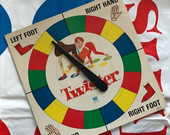 1966 TWISTER Spinner Board and Mat - Milton Bradley - The Game That Ties You Up in Knots