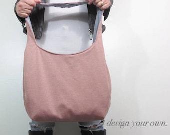 Over the shoulder hobo bag. Large purse. Design your own bucket bag. Chevron, paisley, color block and linen blends