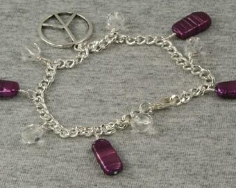 On Sale Handmade Purple and Silver Peace Sign Bracelet