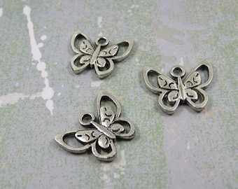 SET of 3 charm pendant Butterfly flower nature insect bird Silver (W74)