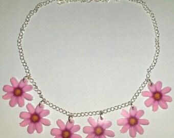 Pink Flower Daisy Chain Summer Festival Hippie Necklace