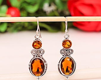 Citrine and 925 Sterling Silver earrings - Art Deco Style