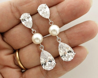 Bridal Earrings Pearl Crystal Wedding Jewelry Cubic Zirconia Bridal Jewelry Teardrop Wedding Pearl Earrings, Clara