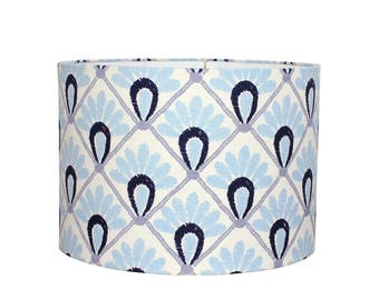 Lamp Shade - Blue Floral Drum Lampshade - John Robshaw Block Print Fabric - Bohemian Style - Modern Chic Decor