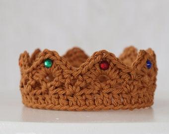Baby Prince Crown, Gold Crown, Gender Reveal Prop, Baby Headband, Newborn Crown, Baby Shower Gift, Prince Crown, Crochet Crown, Photo Prop